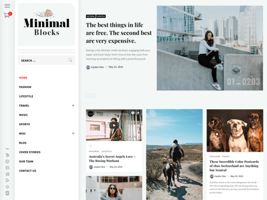 Minimal Blocks wordpress blog teması