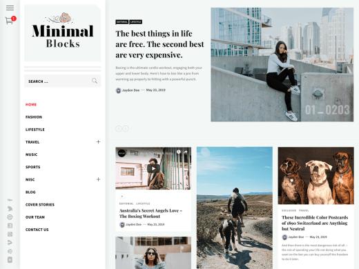Minimal Blocks wordpress blog teması